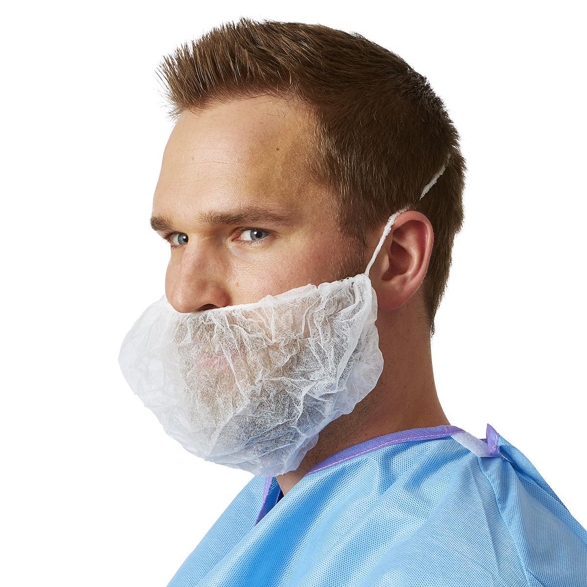 Beard Covers non-woven White with loops Image