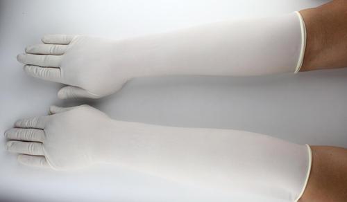 Elbow Length Gynae Gloves 450mm cuff latex powder free Image